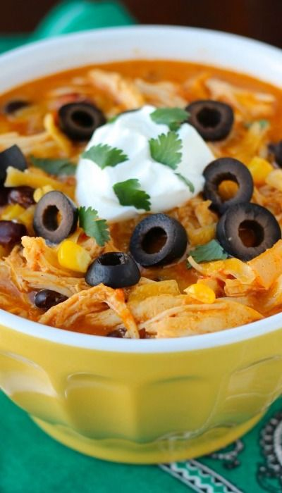 Crock Pot Chicken Enchilada Soup Recipe ~ amazing and simple!