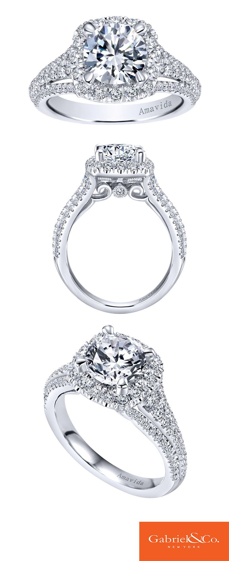 Gabriel & Co. - Voted #1 Most Preferred Bridal Brand. Take a closer look at our Amavida 18k White Gold Diamond Halo Engagement Ring.
