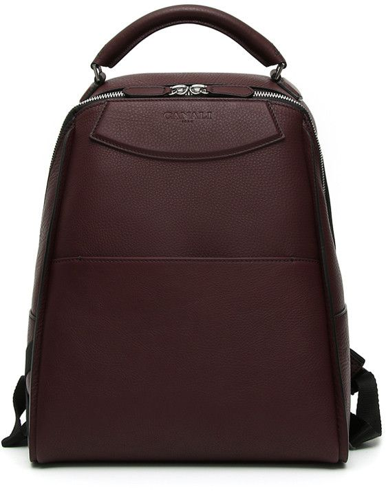 Elegant and contemporary bordeaux tumbled calfskin backpack for men | Shop…