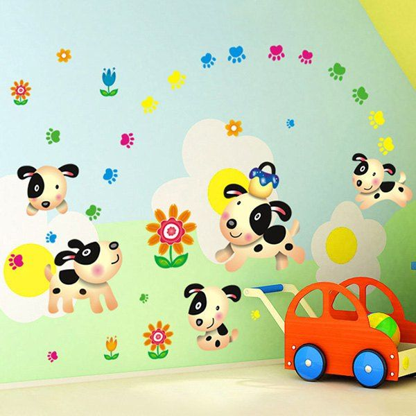 Cartoon Simple Decoration PVC Decorative Wall Stickers For Living Room # Wallstickers #dog #decorate #cartoon #pet | Wall Stickers | Pinterest |  Cartoon Pets