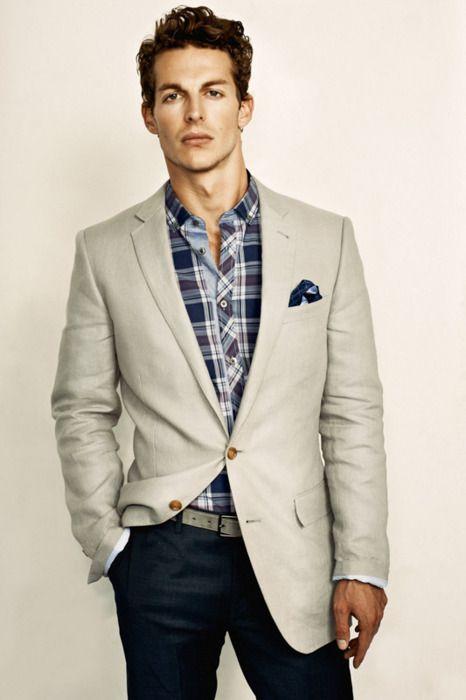 PINTEREST: Fantastic cream blazer. #mensfashion: Menfashion, Casual Shirts, Men Fashion, Jackets, Pockets Squares, Blazers, Plaid Shirts, Sports Coats, Business Casual