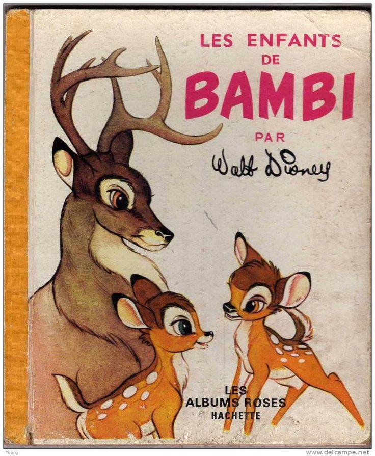 LES ALBUMS ROSES HACHETTE - LES ENFANTS DE BAMBI ( DISNEY ) EDITION CARTONNEE 1964