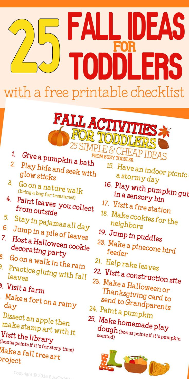 Check out this awesome Fall bucket list for toddlers! An awesome list of activities to do with toddlers this fall - both inside and outside - and many of them are FREE!