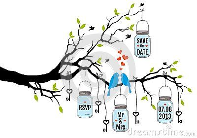 Save the date, wedding invitation with birds, jars and keys, vector