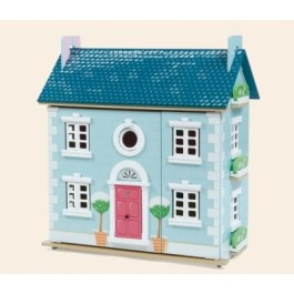 The Le Toy Van Snowdrop house is the perfect doll house for the holidays! With a painted snowy scene this house is fully decorated inside.