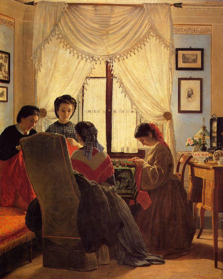 """Cucitrici di camicie rosse"" (1863), Odoardo Borrani"