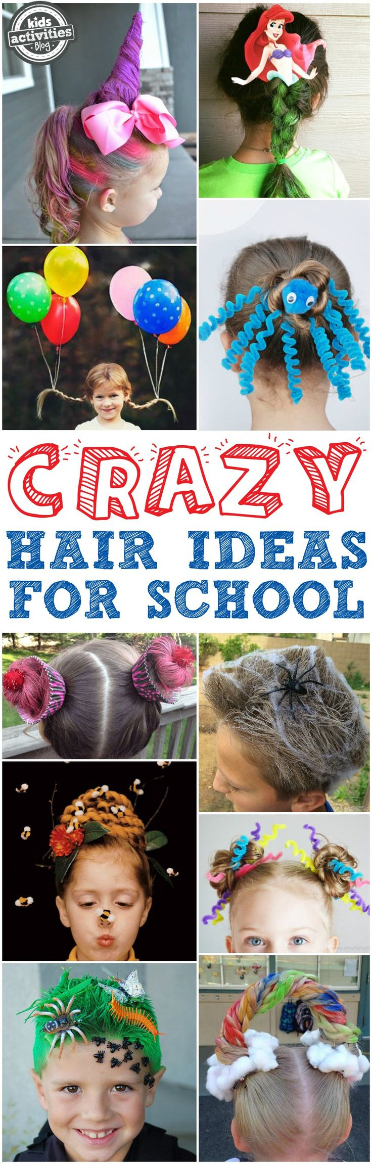 You've got to see these crazy hair day ideas for school! From unicorns to mermaids to bug-infested grass, we've found some of the most creative and craziest ideas out there! via @hollyhomer