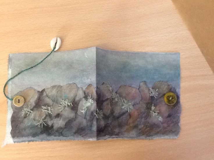 My fabric book made at a workshop with Frances Pickering. Stone wall with lichen