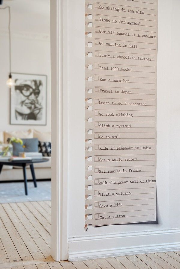 Bucket list on the wall