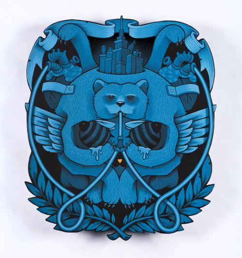 skull bear illustration