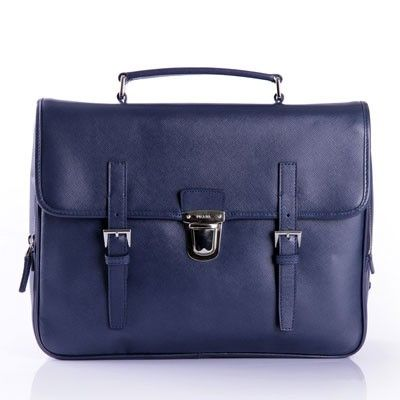 PRADA BUSINESS BAG IN SAFFIANO CALF LEATHER BLUE VR076 - Prada Mens - Prada Bags