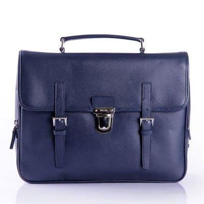 PRADA BUSINESS BAG IN SAFFIANO CALF LEATHER BLUE VR076 - Prada Mens - Prada Bags