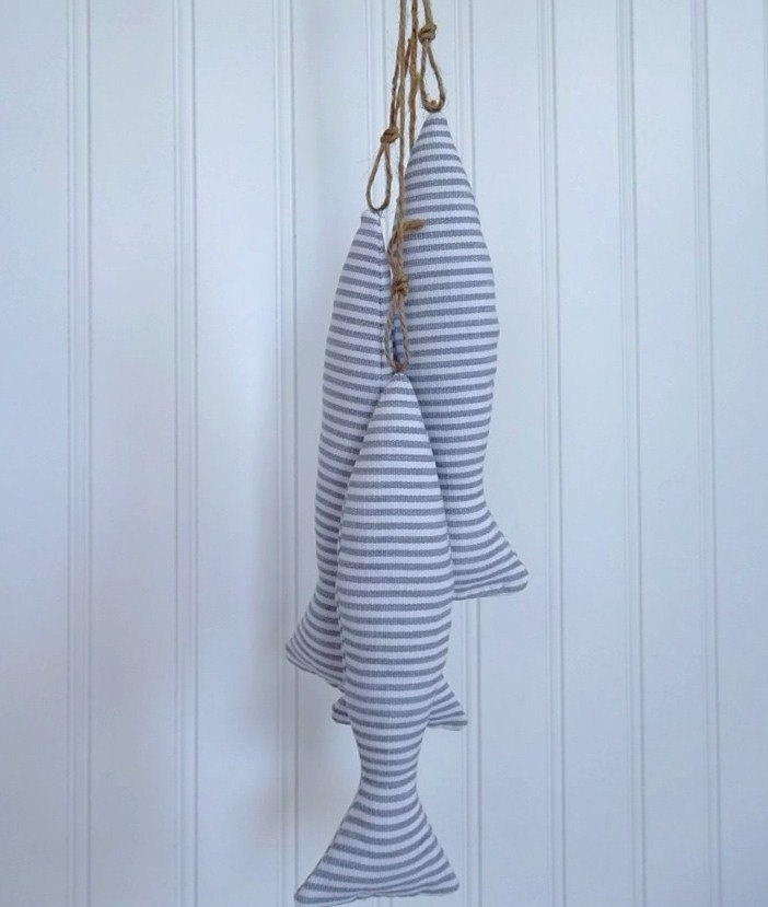 Four Hanging Fish - Blue and White Fish Tassels - Nautical Curtain Tie Backs. $21.00, via Etsy.