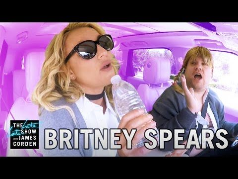 Britney Spears joined The Late Late Show host James Corden on his way to work for some Carpool Karaoke. The two sang a few of Spears' hits, wore costumes, and talked about men.