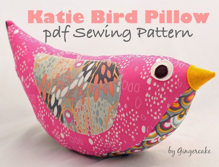 Katie Bird Pillow PDF Sewing Pattern,  Simple colorful bird pillow by Gingercake