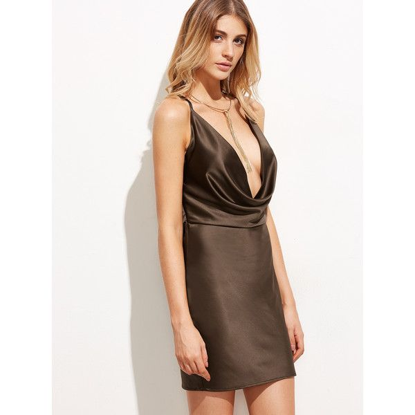 SheIn(sheinside) Brown Drape Neck Cami Dress ($19) ❤ liked on Polyvore featuring dresses, sexy dresses, drape neck dress, short sleeve dress, brown camisole and brown cami