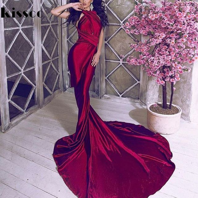 Sale $41.70, Buy Sexy Backless Shiny Satin Deep V Neck Bodycon Mermaid Wedding Party Dress Halter Wine Red Green Floor Length Evening Maxi Dress