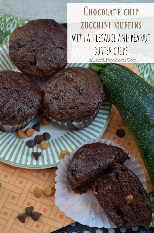 Chocolate zucchini muffins with applesauce
