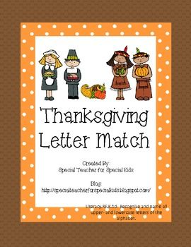 {Free}  Thanksgiving Letter Match.