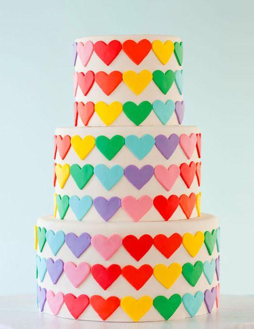Colorful heart shape Wedding cake