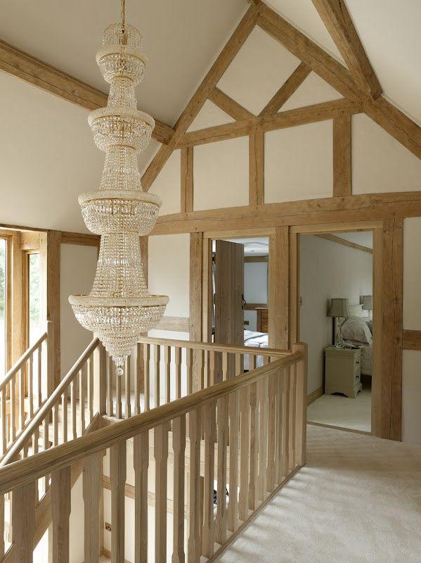 Image result for oak landing banister