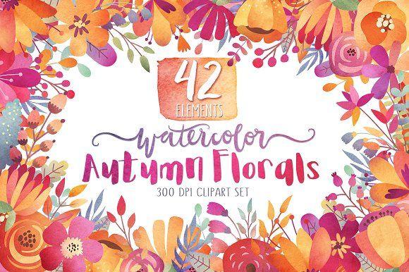 Watercolor Autumn Florals Clipart by Kenna Sato Designs on @creativemarket