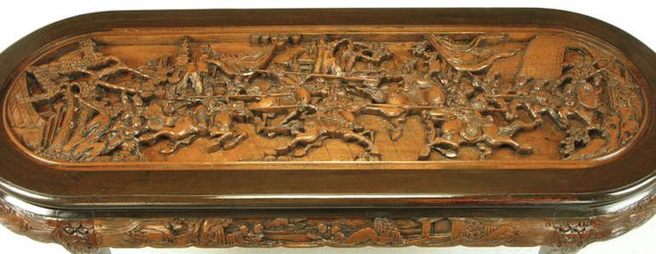 ~ Chinese Oval Coffee Table with Hand-Carved Battle Scene and Six Stools ~ 1stdibs.com