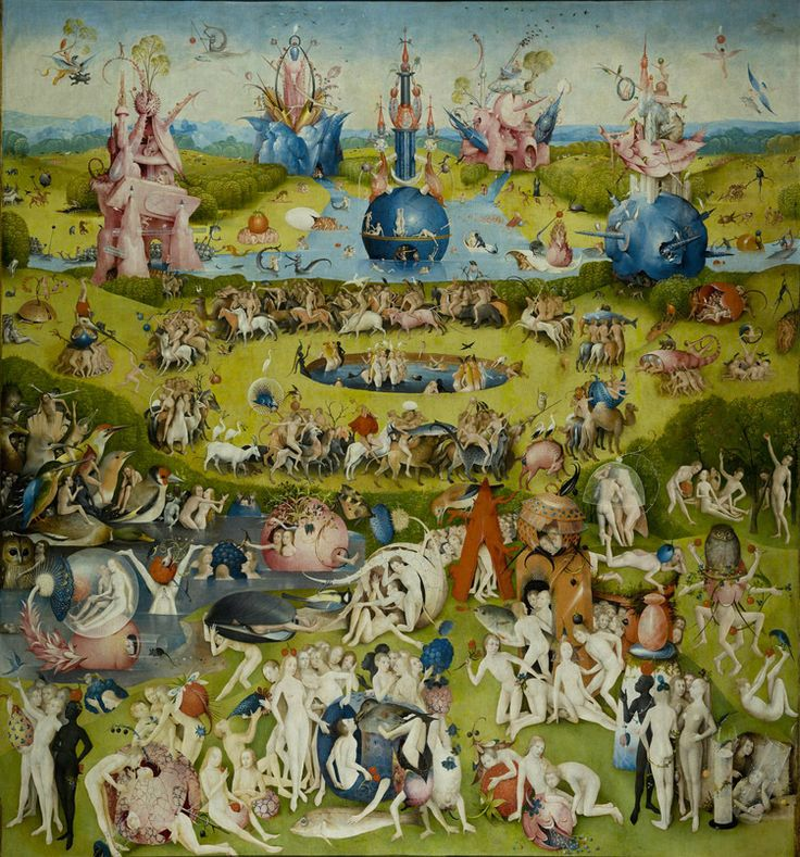 The Garden of Earthly Delights  Hieronymus Bosch  Oil-on-wood panels,  220 x 389 cm,  Museo del Prado in Madrid