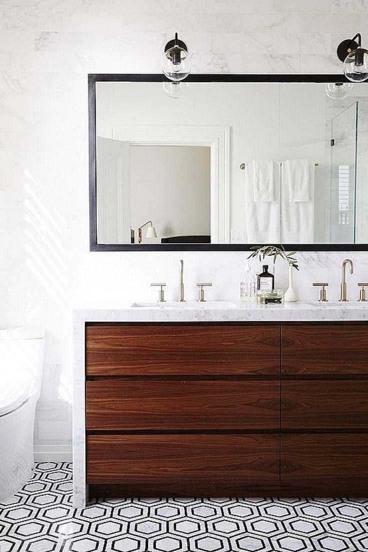 Modern rustic bathroom, tiled floor, geometric floor, wood cabinet, marble countertop