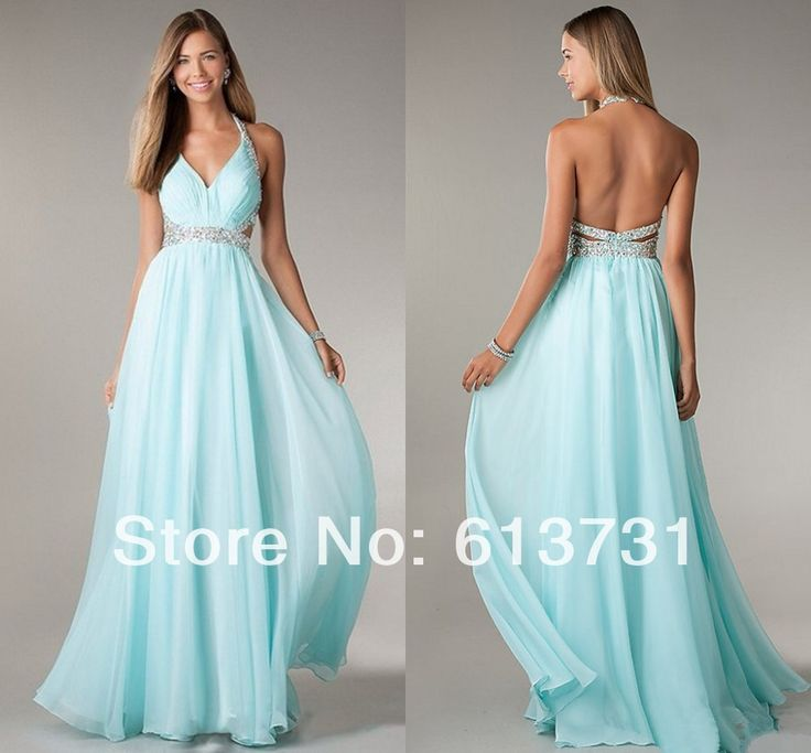 2014 New Fashion Halter V Neck A Line Light Sky Blue Chiffon Long Prom Dresses Sexy Backless Evening Gown For Special Occasion