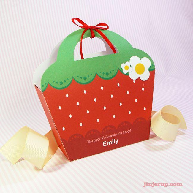 Red strawberry printable giftbag (PDF)   Free - Gift box ...