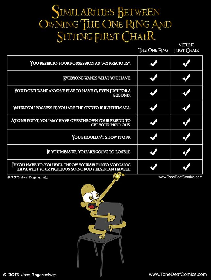 """Similarities between sitting first chair and """"the one ring,"""" from Tone Deaf Comics' latest post.  @Fellow Fellow Gagnon"""