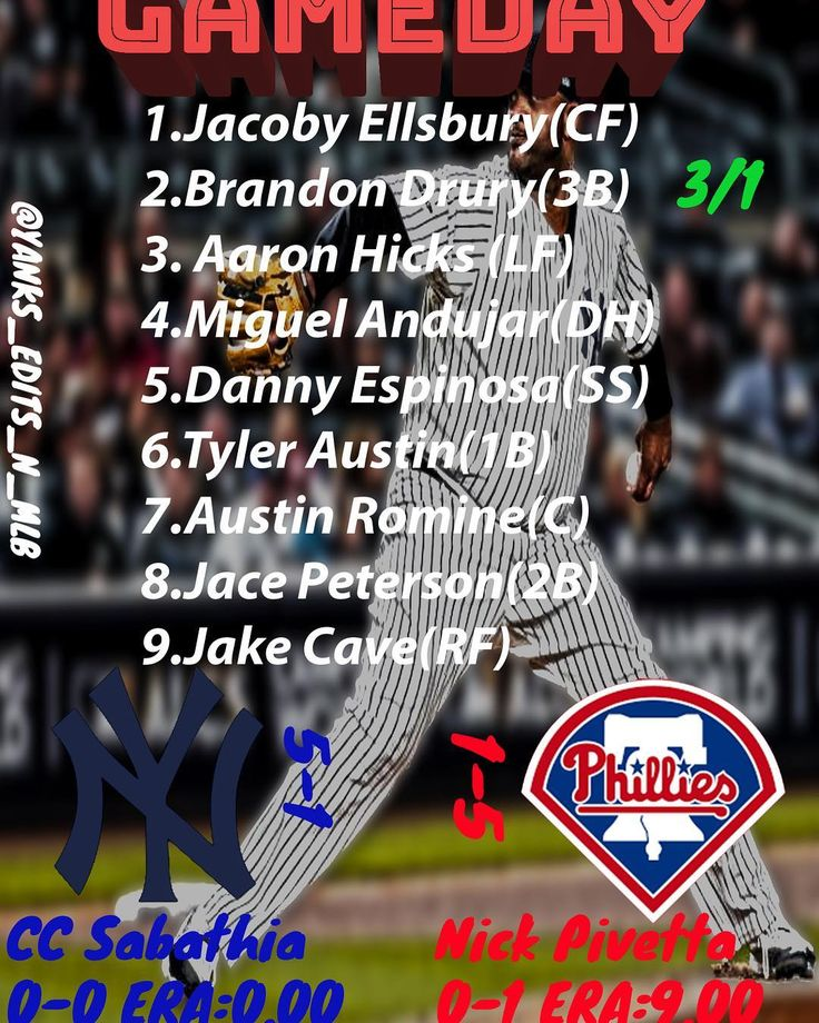 Today the #yankees play against the #phillies once again with CC Sabathia on the mound and Pivetta starting for the Phillies lets see what how good we do in this game and lets win lets go 6-1 now #baseball #springtraining #dubs #homerun #staywinning #springtraining2018 #pinstripepride #dannyespinosa #aaronhicks32 #andujar