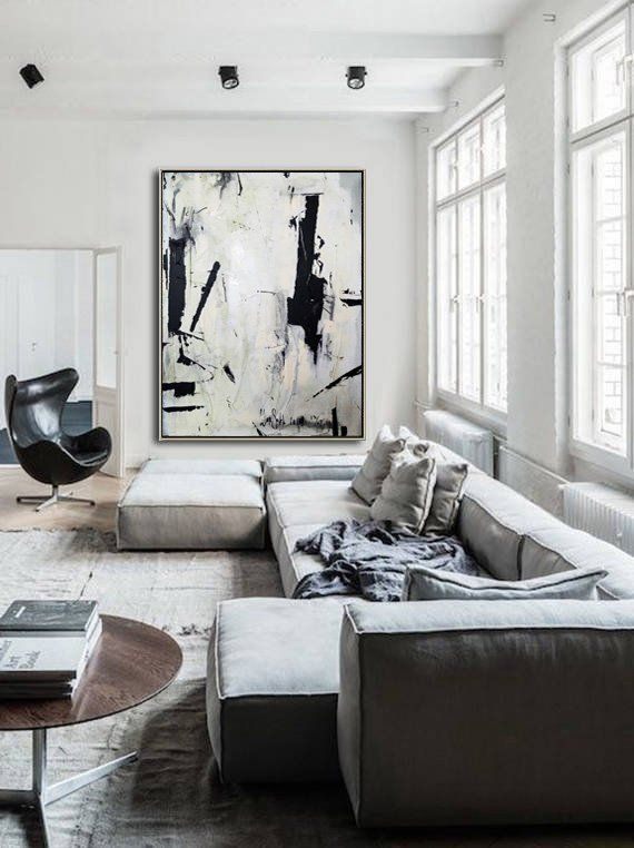 Large Abstract Painting On Canvas Black White Wall Art Painting Acrylic Canvas Abstract Canvas Art Original Dine Room Wall Art Office Decor