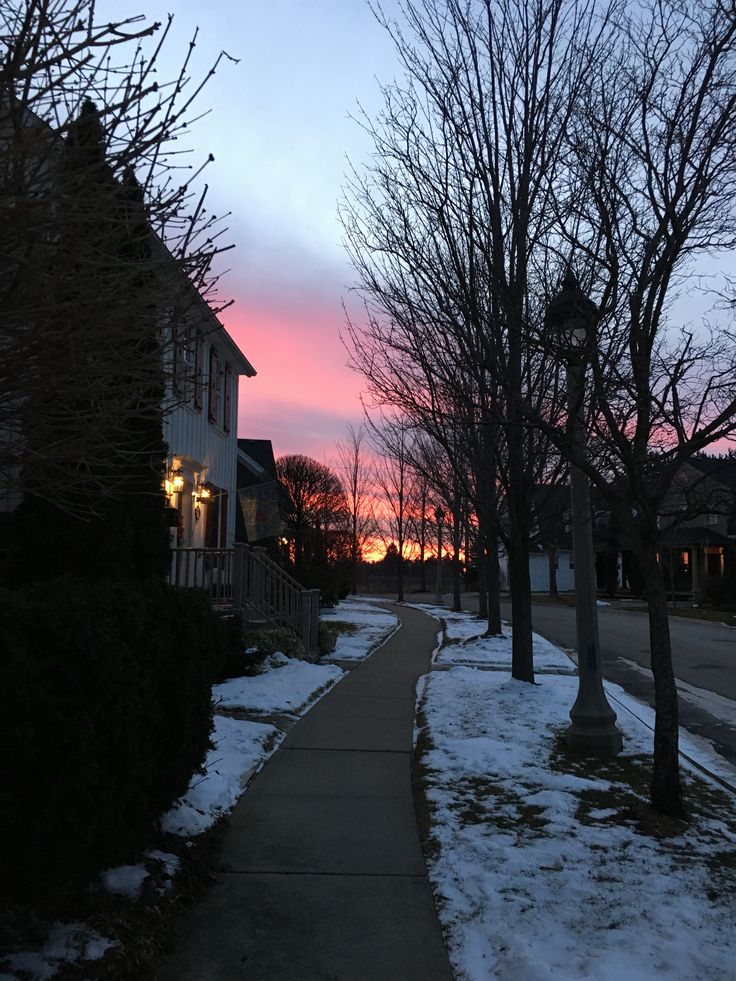 Winter sunset at the end of my street.