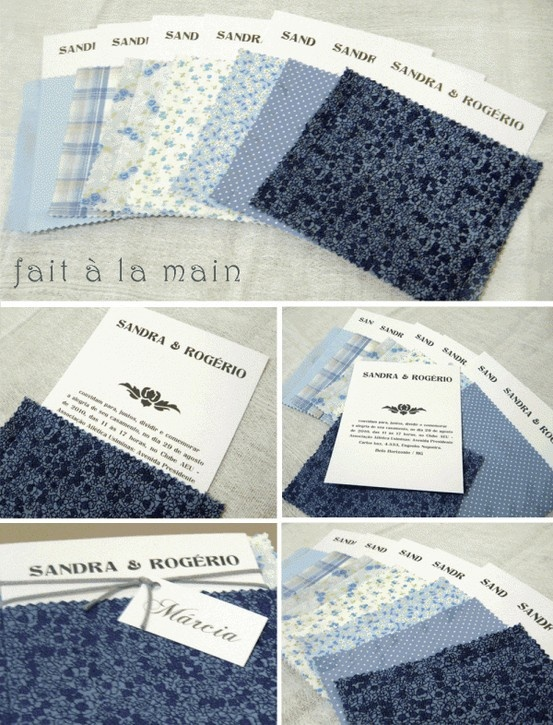 Convites: Envelope de tecido azul.