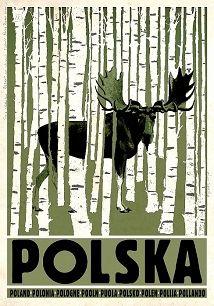 Ryszard Kaja - Polska, brzozy, łoś, polski plakat turystyczny