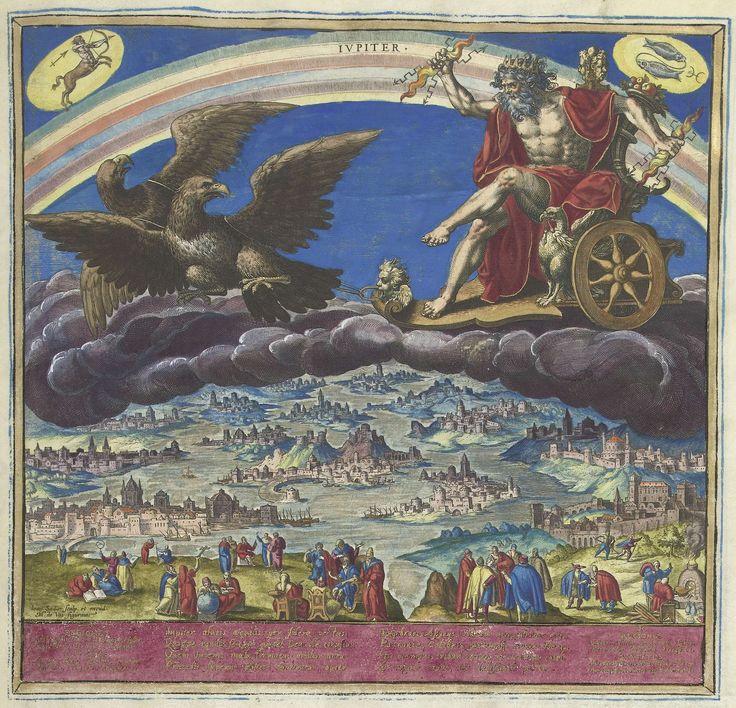 Johann Sadeler (I) | De planeet Jupiter en zijn invloed op de wereld, Johann Sadeler (I), 1585 | De god Jupiter met bliksemschichten in de hand. Hij rijdt in zijn zegewagen die wordt getrokken door twee adelaars. In de linkerbovenhoek het sterrenbeeld Boogschutter, rechts Vissen. Onderaan een rivierlandschap met de havens van Mesopotamië, het Ottomaanse Rijk, Italië, Spanje en Hongarije. Op de voorgrond geleerden die wetenschap bedrijven. Middenvoor een koning die naar zijn raadgevers…