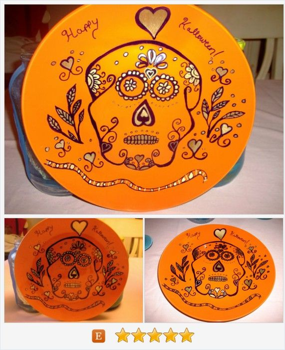 Happy Halloween Sugar Skull Painted Orange Plate with Gold and Black Paint Handmade Holiday Decor Table Wall Party Plate https://www.etsy.com/listing/457724176/