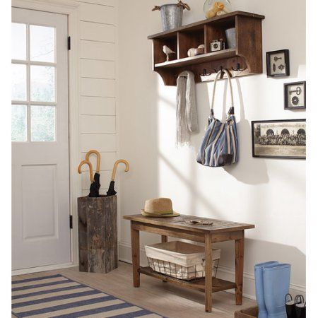 Alaterre Revive Wall Mounted Coat Rack with Bench - Walmart.com