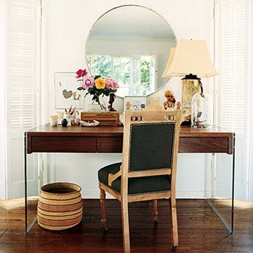 Eclectic desk: Love the round mirror and woven waste basket