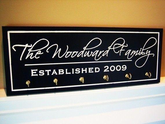 Nom de famille personnalisé signe Plaque avec par mrcwoodproducts