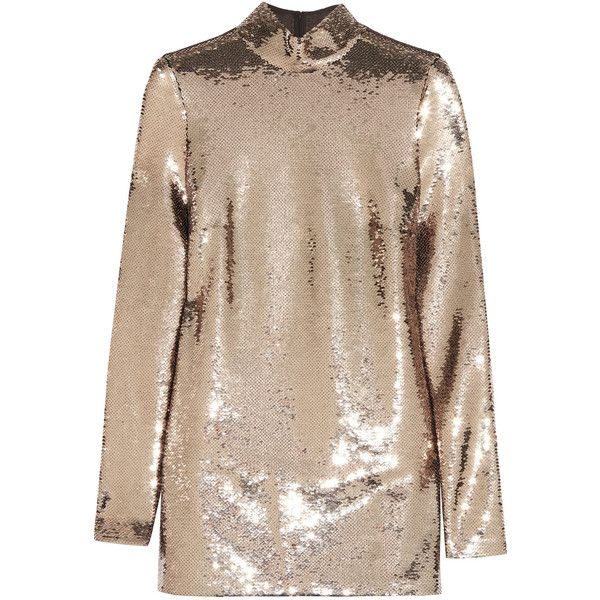 TOM FORD Sequined chiffon tunic (£2,140) ❤ liked on Polyvore featuring tops, tunics, dresses, gold long sleeve top, gold sequin tunic, embellished tunic, high neck top and chiffon tops