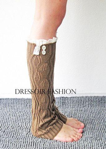 Bruine beenwarmers lange sokken voor laarzen - Dressoir Fashion