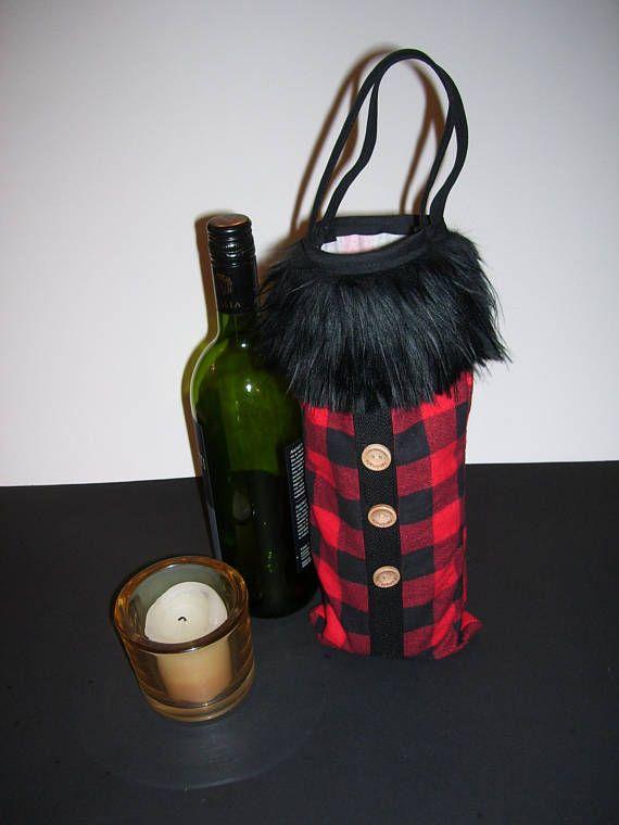 WINE GIFT BAGS  checkered wine bags  buffalo wine bags