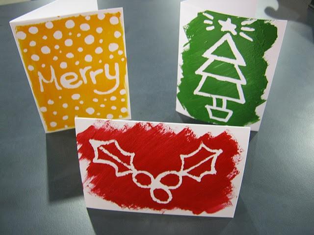 masking fluid Christmas cards