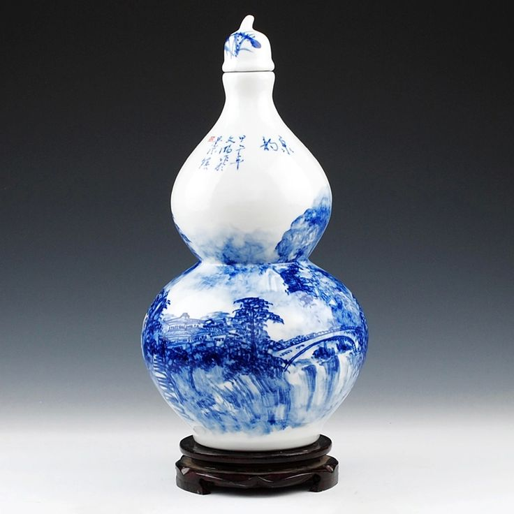 Wu Wenhan ceramics famous hand-painted blue and white landscape 10 pounds ten pounds a bottle gourd bottle jar