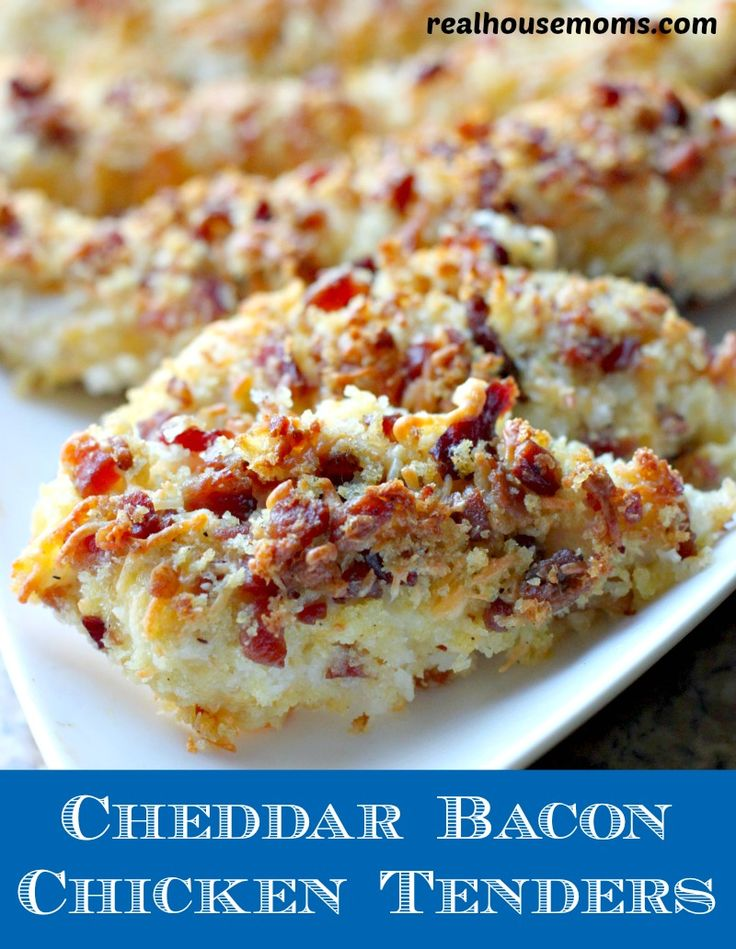 Cheddar Bacon Chicken Tenders. I'm going to try this recipe with gluten-free bread crumbs for a gluten-free meal the whole family can enjoy!