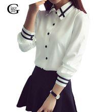 2017 de Las Mujeres de Oficina Blusa de Gasa Blanca Camisas de Moda Femenina Elegante Blusas Turn-down Collar de Manga Larga Casual de Las Señoras Tops(China (Mainland))