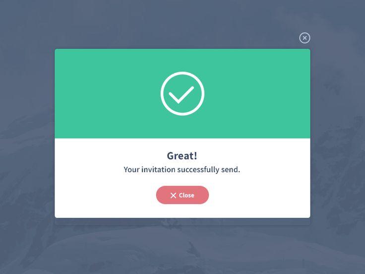 invitation successfully send modal.